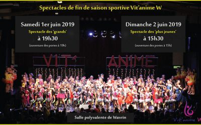 Spectacles de fin de saison sportive : 1er et 2 juin 2019